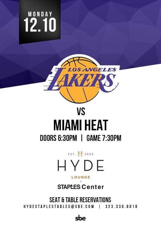 La Lakers Vs Miami Heat Tickets At Hyde Staples In Los